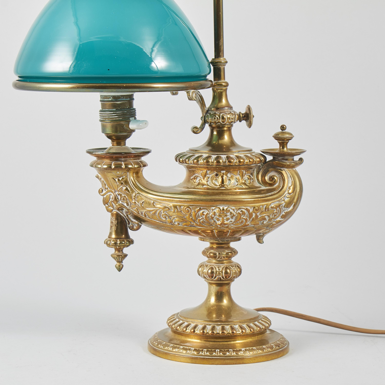 Bordsfotogenlampa, Elektrifierad, Sent 1800 tal, mässing