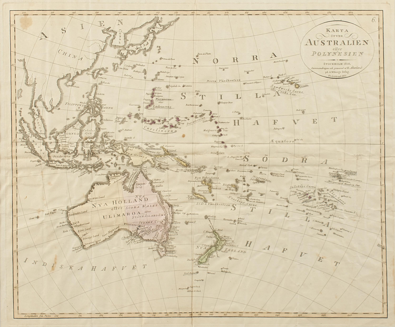 Australien Karta Lander.Karta Etsning Karta Ofver Australien Eller Polynesien 1831 Ca