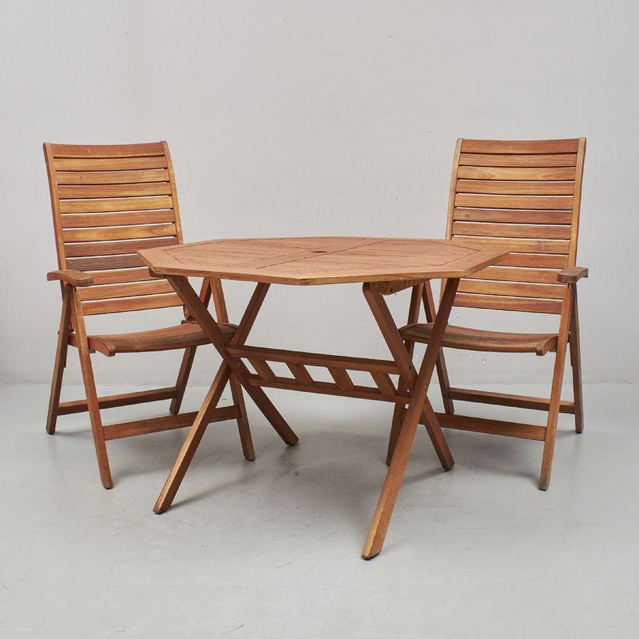 Trädgårdsgrupp, 3 delar, Jutlandia, Bord + 2 stolar. Längd