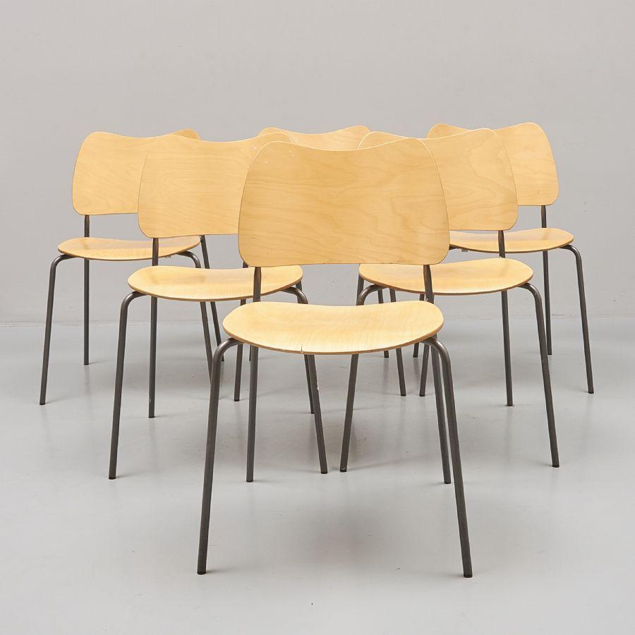 Stolar, 6 st, Lammhults Möbel AB, 2000, stapelbara Metropol Auktioner i Stockholm och på
