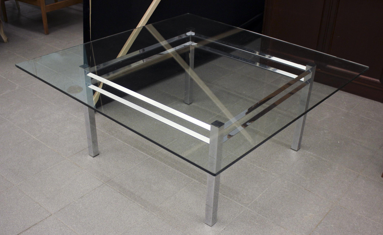 Välkända Soffbord, Krom/glas, längd: 120 cm, djup: 120 cm, höjd: 50 cm GY-75