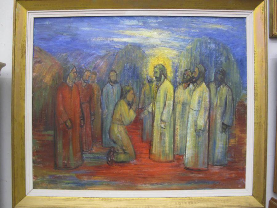 Oljemålning, Helge Andersson Religiöst motiv, 80x100