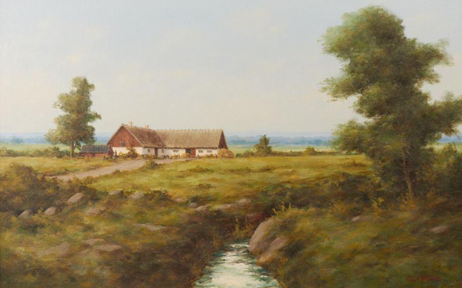 Oljemålning, Bror Persson, Skånegård, signerad, 48×80 Metropol Auktioner i Stockholm och på